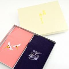 慶弔綸子刺繍ふくさセット (夫婦鶴)